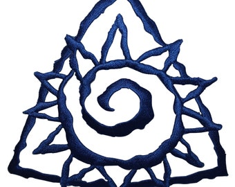 ID #8767 Blue Triangle Spiral Sunny Sun Badge Embroidered Iron On Applique Patch