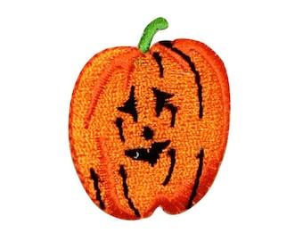 ID 0790B Pumpkin Jack O Lantern Halloween Fall Autumn Iron On Badge Applique Patch