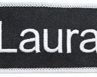 """Laura """"Laura"""" Name Tag Uniform Identification Badge Embroidered Iron On Badge Applique Patch"""