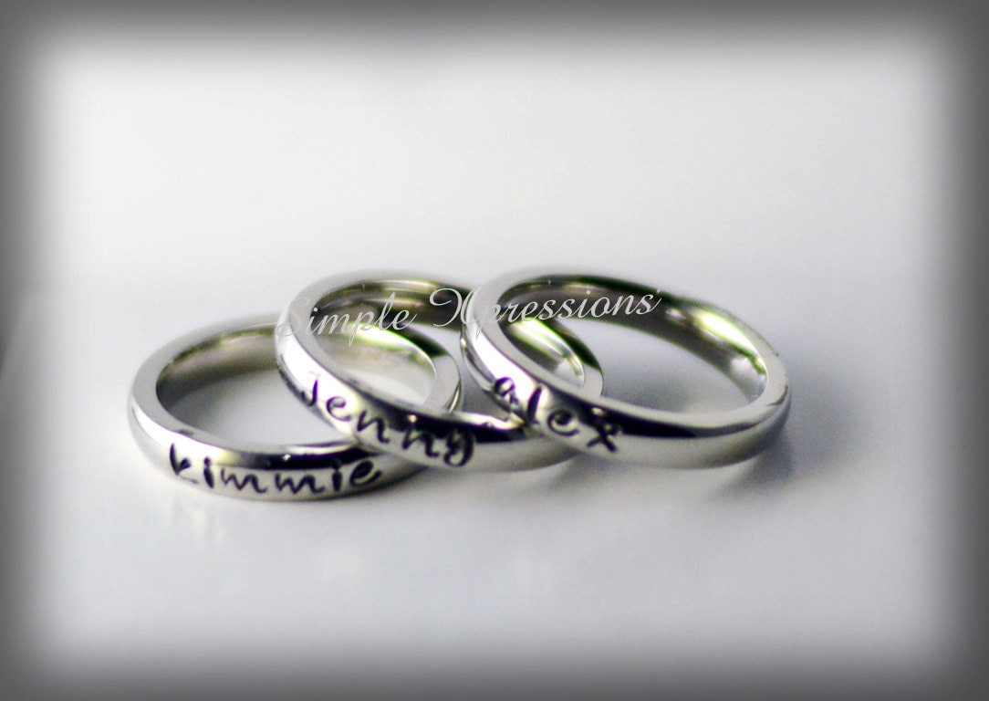 personalized stackable name ring stainless steel by. Black Bedroom Furniture Sets. Home Design Ideas