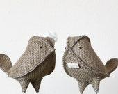 Rustic Love Bird Burlap Wedding Cake Topper, Mini Customizable Flower/Veil/Tie/Bow Tie Bride and Groom, Wedding Decorations - Made to Order