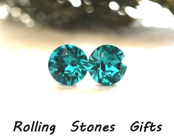 7.27mm Blue Zircon Swarovski Studs Xirius Round Rhinestone Stud Earrings-Swarovski Crystal Stud Earrings-December Birthstone studs