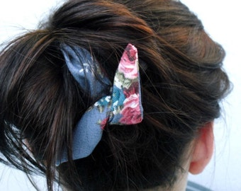 Soft Denim and Flowers Wire Hair Tie, Hair accessory, Headband