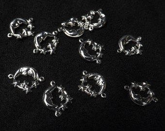 Moon Stars links 10 pieces 11mm silver plated brass charms jewelry supply celestial scrapbooking