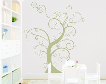 Thin Bare Whimsical Tree Wall Decal - Nature Wall Decal, Nursery Tree Sticker, Tree Wall Sticker, Skinny Tree, Branch Wall Art,  Curly Tree