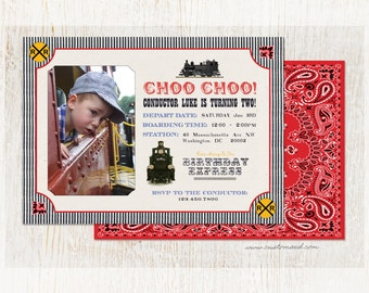 TRAIN Birthday Invitation - All Aboard - Choo Choo - Personalized with PHOTO - Custom Text - two sided print