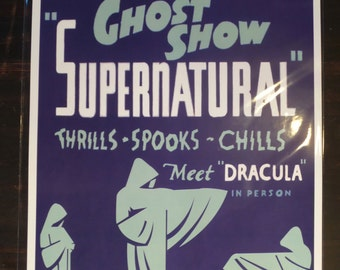 Dwight Daman 40s Supernatural Spook Show Event Poster Magic Act Magician Dracula Ghost Print / Art / Illustration/ Window Card Reproduction