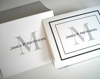 50 Personalized note cards w/ envelopes. Custom thank you notes stationery, blank inside. Nice gift for professionals!