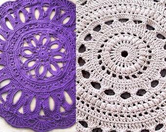 Crochet pattern SET Pdf- doily crochet rug & flower doily crochet rug
