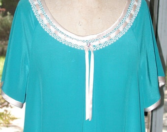 No. 500 Silk Crepe Nightgown in  Turquoise, Vintage Tatted Lace & PETAL PINK ACCENTS (Fits Sizes 10-18)