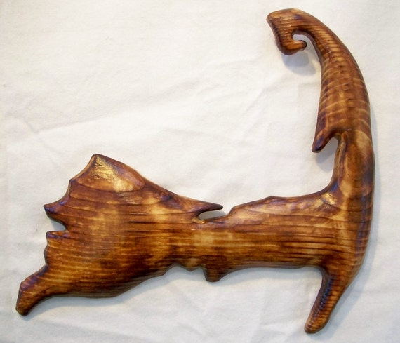 Cape Cod Massachusetts Wood Wall Hanging Map....Hand Carved