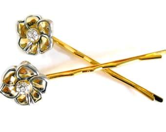Hair Jewelry Gold and Pave Rhinestone Repurposed Bobby Pins