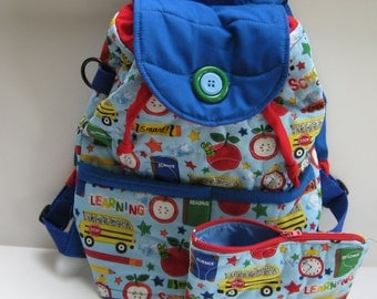 Handmade quilted boys backpack with matching pencil case