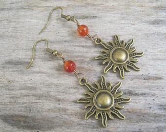 Carnelian Sun Earrings, Sunshine Earrings, Fiery Carnelian Earrings, Boho Earrings, Nature Earrings, Sunburst Earrings, Bronze & Orange