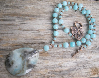 Amazonite Necklace, Aqua Blue Necklace, Teardrop Necklace, Heart & Throat Chakra, Beaded Jewelry, Antiqued Copper Leaf,  READY To SHIP