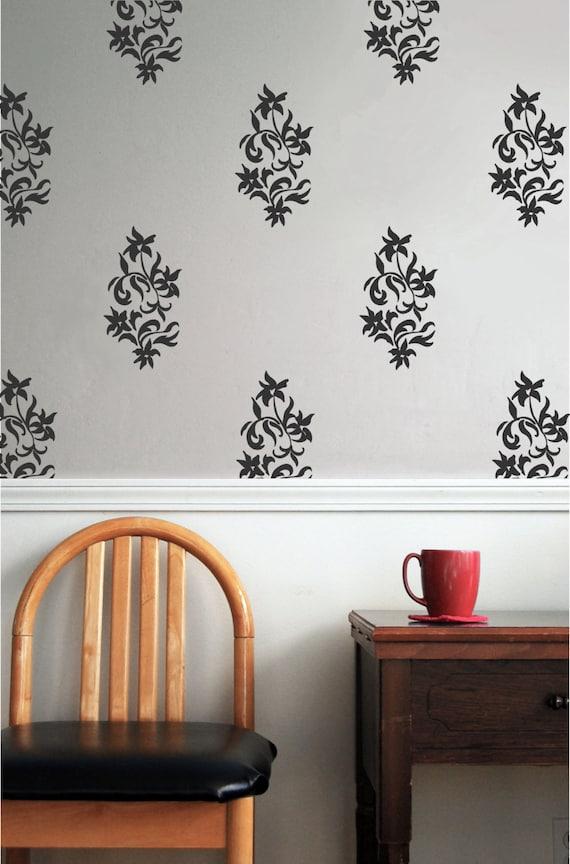 Floral Wall Decals Etsy : Elegant Floral Damask Vinyl Wall Decal Elegant By  Jesabi On Etsy