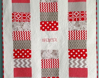 Embroidered Name Baby Red Coin Modern Quilt