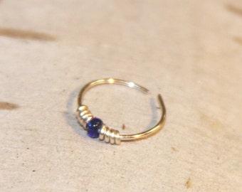 Small Thin Nose Ring, 24 gauge, Blue Beaded Nose Ring, Nose Hoop, Hoop Earring, Cartilage Hoop, Endless Hoop Seamless Hoop Piercing Jewelry