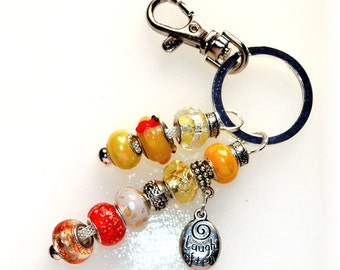 Beaded Key Ring -- Sunny Yellow With Dragonflies