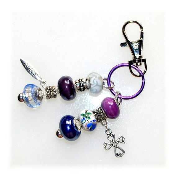 purple and blue beaded key ring with cross and peace charm