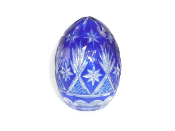 Cut To Clear Egg Cobalt Blue Crystal Glass By Chromaticwit