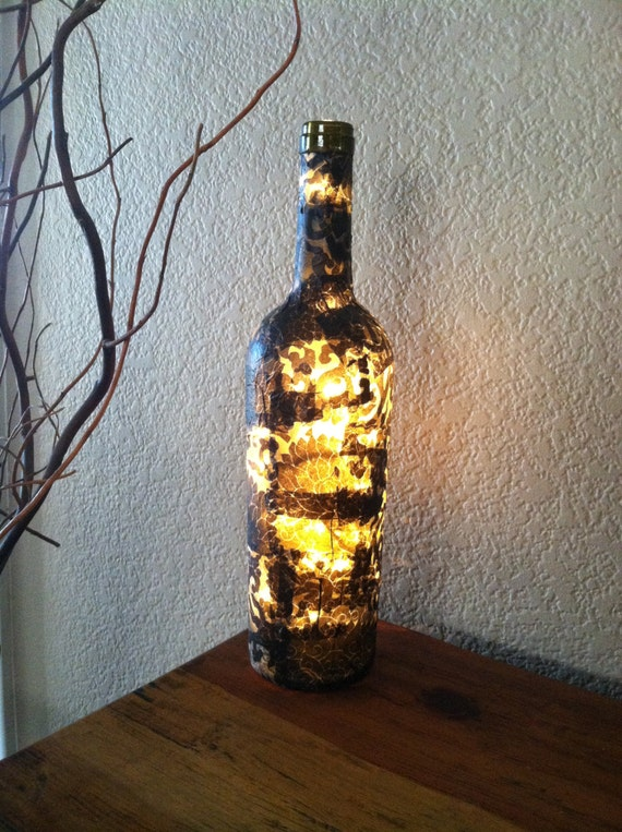 Wine Bottle Light Black and White Decoupaged by DesignsbyKKay