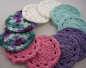10 Facial Scrubbies, Colors as Shown, 100% Cotton, Cleansing Pad, Makeup Remover, Coaster