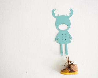 "Metal Wall Hook Rack Home Decor ""Girl Reindeer"""
