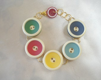 Vintage Button Bracelet Stripes Red Blue Yellow Green