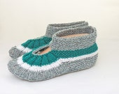 Knitted Socks / Slippers in Grey, Green and White, Hand Knitted Women Winter Home Socks / Slippers, UK Seller