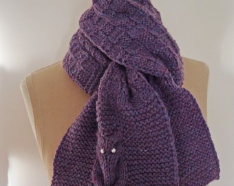 Knitted Scarf, Owl Knitted Scarf, Owl Scarf in Purple, UK Seller