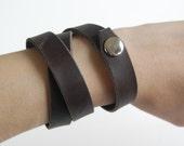 Chocolate 3-row Leather Wrap Bracelet - Handmade Leather Bracelet