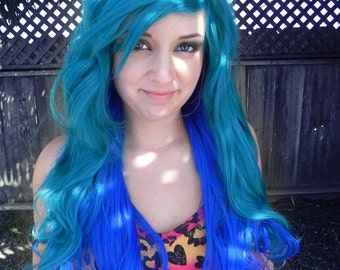 SUMMER SALE // Blue and Teal / Long Curly Layered Wig with Natural Scalp Piece Ombre Green Mermaid Hair