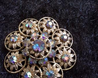 Vintage antique aurora borealis goldtone circular old Hollywood glamour brooch pin wedding bridal bouquet