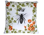 Queen Bee Pillow Case Bee Cushion Bee Flowers Cover Vintage Retro Fabric Green Orange