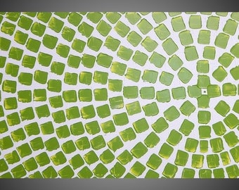 Painting Abstract Art Wall Art on large Canvas Interior Design White Olive green Square Painting 48x24 Ready to Hang Made to Order by ilonka