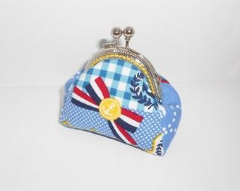 Nautical  anchor lifesaver french ribbon coin/change pouch/purse/wallet w metal frame