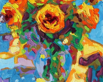 Eight Yellow Roses oil painting Bertram Poole