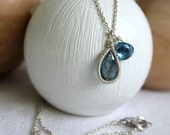 Blue Topaz Thin Silver Chain- Small Teardrop Pendant - Royal Blue -Boho Gypsy Charm Necklace Handmade Birthstone Jewelry