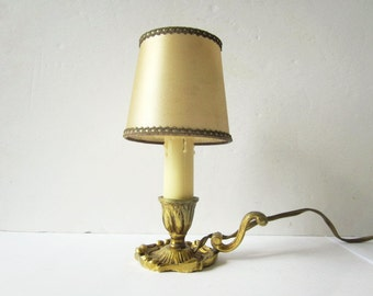 Vintage french brass lamp, Lampe ancienne laiton, 1950, Home decor, Lighting, France, Abat-jour