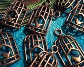 Vintage birdcage Antique Brass Charm
