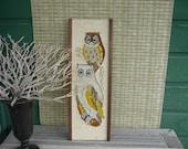 Vintage 70's Pebble Art, Owl Wall Hanging, Retro Home Decor