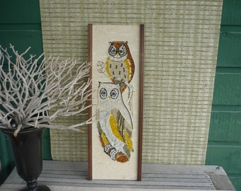 Vintage 70's Pebble Art, Owl Wall Hanging, Retro Home Decor