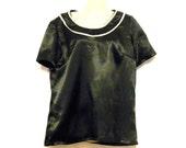 Shopping, Clothes,Black Satin Top - Black T Shirt Top - Evening Top - Short Sleeve Top - 1970s Top - Size 10 - Size 8
