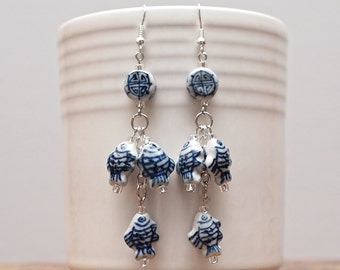 Asian Inspired Catch-of-the-Day Blue and White Ceramic Earrings Use coupon code CLEARANCE for 20% off