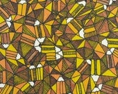 About pencils and triangles. Orange, yellow, brown and stripes. A4 digital print. Illustration. Kids. Children.