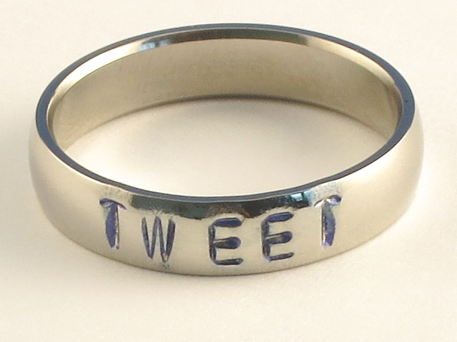 TWEET - Personalized Hand Stamped Customized Stainless Steel Low Dome Name Ring 5mm Ring Sizes 3-14