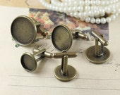 10 Antique bronze Cufflinks with round Bezel Cup Cabochon Mountings, 5 sizes available- 12mm/ 14mm/ 16mm/ 18mm/ 20mm- W05924