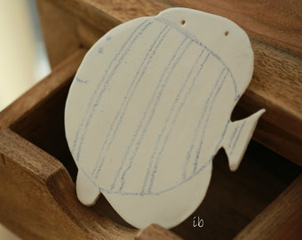 White Fish Ceramic Ornament  Blue Lines Home Decoration, Minimalist Fish Pottery Decorated withCrayon