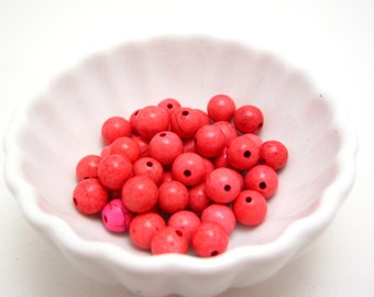 SALE - hot pink magnesite rounds-  8mm - 20 beads